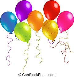 schöne , bänder, geburstag, luftballone, langer
