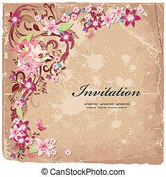 Schöne Blumen-Design-Einladungskarte