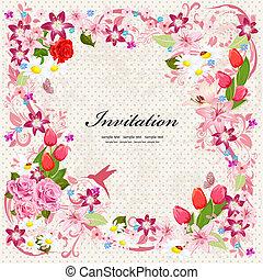schöne , floral entwurf, karte, einladung
