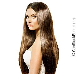 Schöne Frau mit lang gesunden und glänzenden braunen Haaren