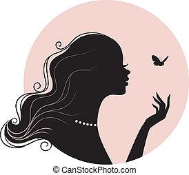Schöne Frau mit Schmetterling