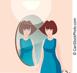 Schöne Frau mit Spiegel.