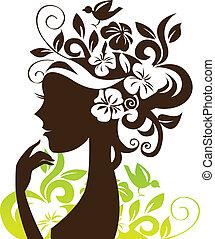 Schöne Frau Silhouette mit Blumen und Vogel.