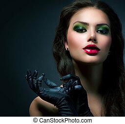Schöne Mode-Glas-Mädchen. Vintage Style Model mit Handschuhen