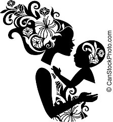 schöne , sling., silhouette, abbildung, baby, mutter, blumen-