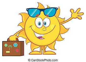 Schöne Sommersonne mit Sonnenbrille.