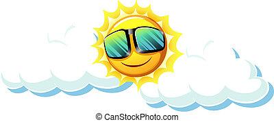 Schöne Sonne mit Sonnenbrille.