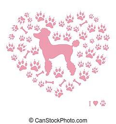 Schönes Bild von Pudelsilhouette auf einem Hintergrund von Hundespuren und Knochen in Form von Herz.