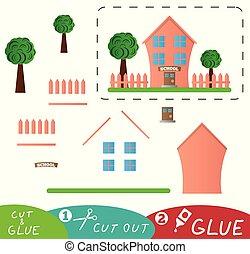 Schönes rosa Schulgebäude mit Garten und Zaunschnitt und Leimspiel.