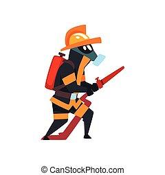 schützend, feuerwehrmann, feuer, feuerwehrmann, maske, abbildung, uniform, vektor, hintergrund, weißes, saugschlauch, zeichen