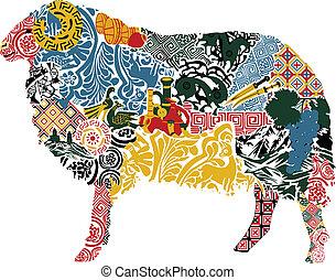 Schafe im georgischen Motiv.