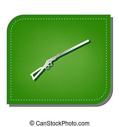schatten, silber, leaf., geflickt, ökologisch, jagen, gun., linie, silhouette, illustration., grün, dunkel, gewehr, ikone, steigung