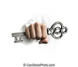 schatz, besitz, schlüssel, hand
