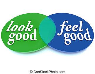 Schau und fühle ein gutes Venndiagramm-Balance-Erscheinen gegen Gesundheit