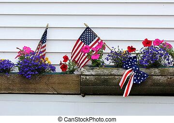 Schaufenster mit amerikanischen Flaggen