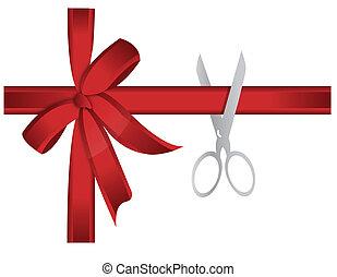 schere, schneiden, rotes band