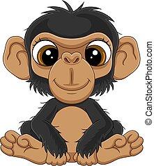 schimpanse, reizend, baby, karikatur, sitzen