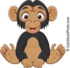 schimpanse, reizend, karikatur, baby sitzen