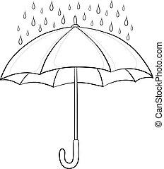 schirm, konturen, regen