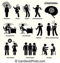 schizophrenie, gehirn, chronisch, störung, icons.