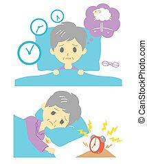 Schlaflosigkeit, Schlaflosigkeit, alte Frau.