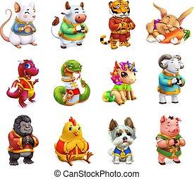 schlange, tierkreis, chinesisches , tier, ikone, satz, pig., 3d, feuerdrachen, vektor, kalender, schafe, lustiges, tiger, ochse, hund, affe, hahn, kanninchen, pferd, ratte
