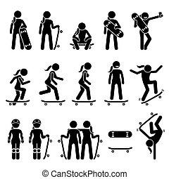 schlittschuhlaufen, skateboard, icons., stock, skater, weibliche figur