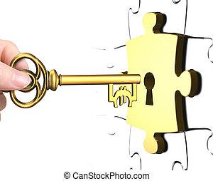 schloß, puzzel, zeichen, hand, schlüssel, stück, rgeöffnete, euro