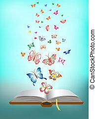Schmetterling fliegt um das Buch herum