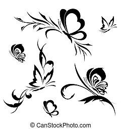 Schmetterlinge mit einem Blumenmuster
