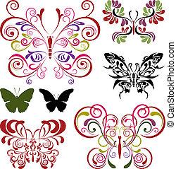 Schmetterlingselemente gesetzt