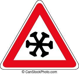 schnee, cold., zeichen., zeichen, warndreieck, voraus, straße, vektor, abbildung