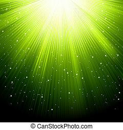 Schnee und Sterne fallen auf grünen Strahlen. EPS 8