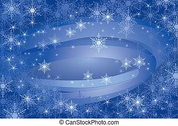 Schneeflocke im Hintergrund.