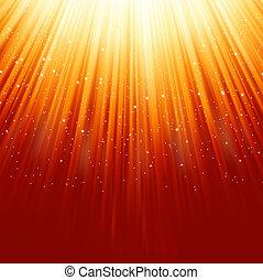 Schneeflocken sinken auf goldenem Licht. EPS 8