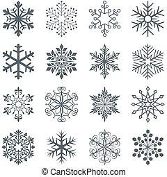 Schneeflockenformen Vektor, isoliert auf weißem Hintergrund.