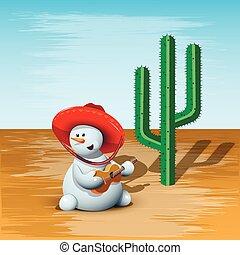 Schneemann und Kaktus.
