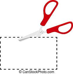 schnitt, punktiert, coupon, schere, linie, rotes , heraus