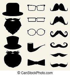Schnurrbart, Hüte, Brille,
