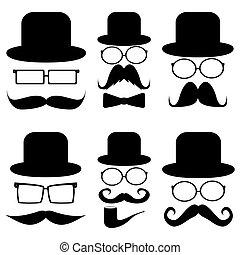 Schnurrbart, Hüte, Brille.