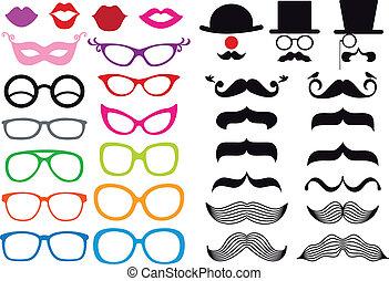 Schnurrbart und Brille, Vektorset