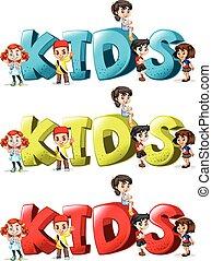 Schriftdesign für Wortkinder in drei Farben.