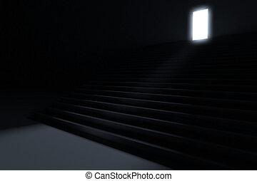 Schritte, die zu Licht in der Dunkelheit führen.