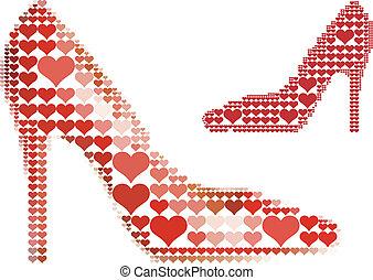 Schuh mit rotem Herzmuster