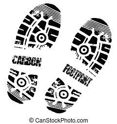 Schuhabdruck von Carbon
