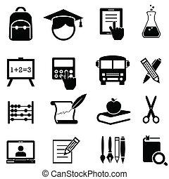 Schule, Lernen und Bildung Ikonen.