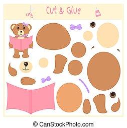 Schulpapierspiel für die Entwicklung von Vorschulkindern. Schneiden Sie Teile des Bildes und Kleber auf dem Papier. Vector Illustration. Verwenden Sie Schere und Kleber, um die Applique zu erstellen. Hab ein Buch. Teddy