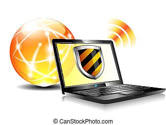 schutz, antiviru, schutzschirm, internet