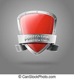 schutzschirm, schutz, realistisch, freigestellt, grau, hintergrund., vektor, glänzend, leer, umrandungen, silber, geschenkband, rotes