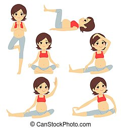 schwanger, joga, brünett, frau, posen